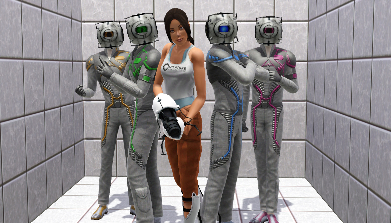 Chell and the Cores (Sims 3) by CamKitty2.