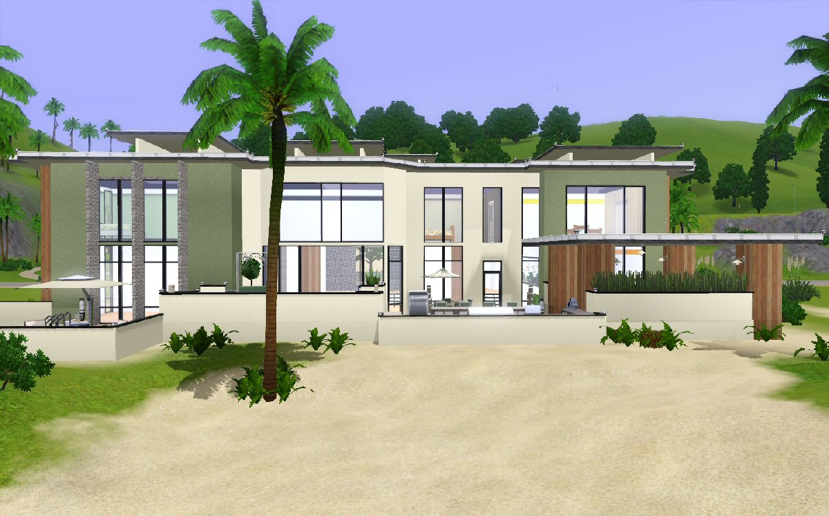 Mod the sims modern beach house for Best house designs for the sims 3