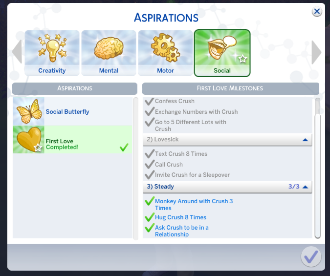 "Mod The Sims - Sims 4 ""First Love"", Child Aspiration"