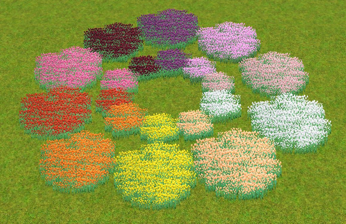 Mod The Sims - Fields of Tulips - 15 colors, 2 sizes