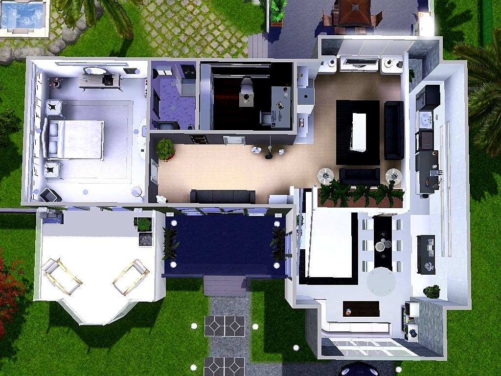 Mod the sims modern beach house no cc for Beach house plans sims 3