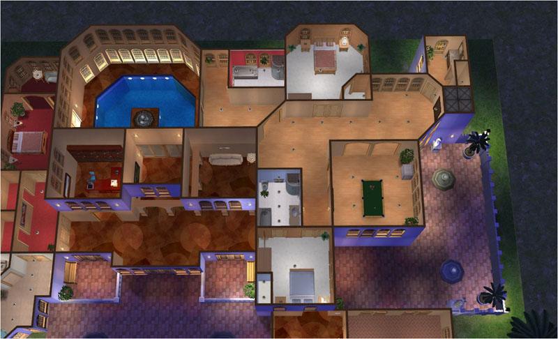 Mod the sims cordillera luxury mediterranean villa 3 for Sims 2 floor plans