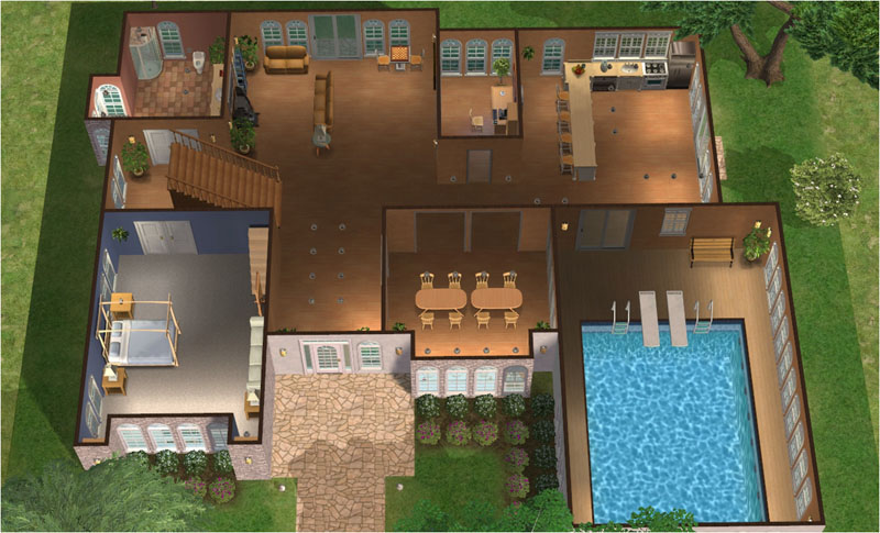 Mod the sims tiavani classics series luxury for Mansion plans with indoor pool