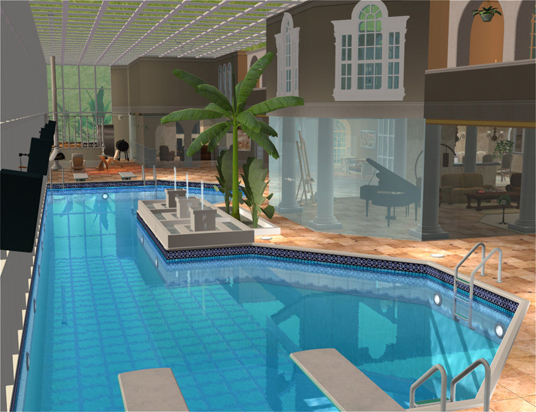 Mod the sims milano luxury mediterranean villa 5 br 8 for Pool design sims 3