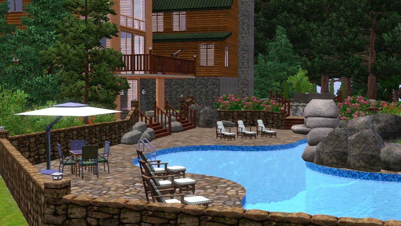 Mod The Sims - Lindsey's Log Mansion (No CC)