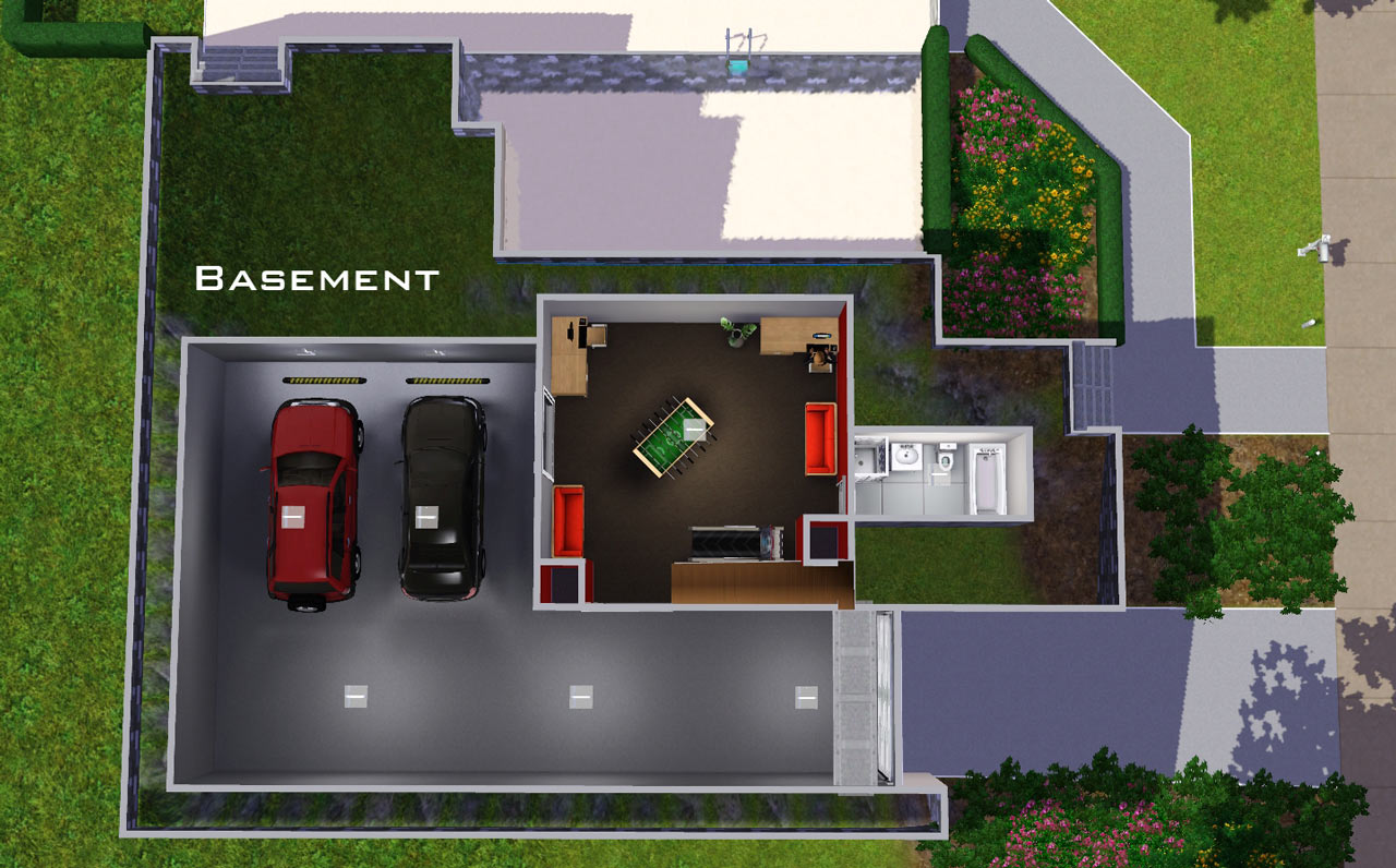 Mod the sims 39 underground garage 39 6 stone and stucco blvd for Home plans with basement garage