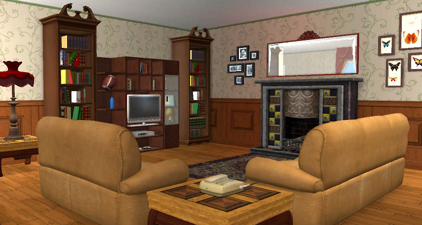 Mod the sims 3 rosewater lane traditional 2 bed home for Sims 3 living room ideas