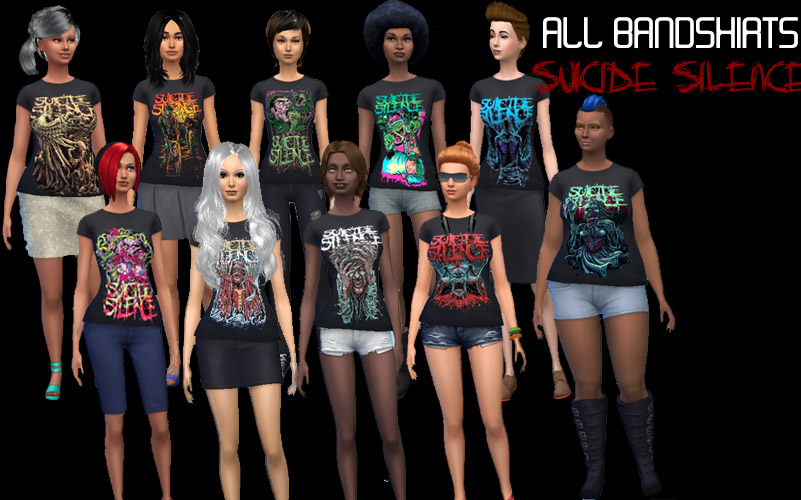 Mod The Sims 10 Suicide Silence Bandshirts For Female