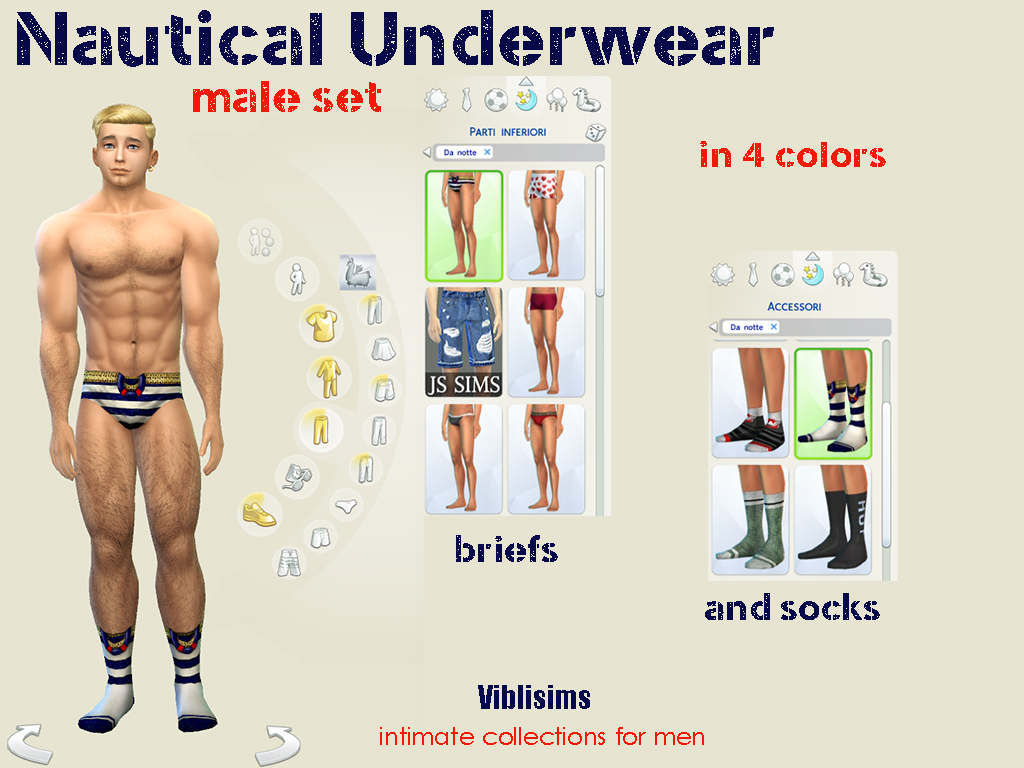 Mod The Sims - Nautical Underwear Male set. Briefs and socks
