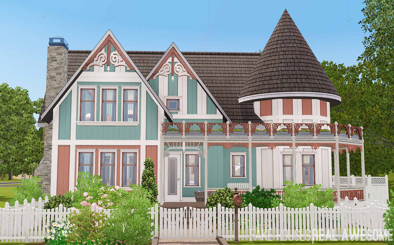Mod the sims netley house queen anne victorian for Queen anne victorian