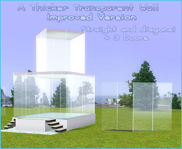 mod the sims - an improved thicker transparent wall