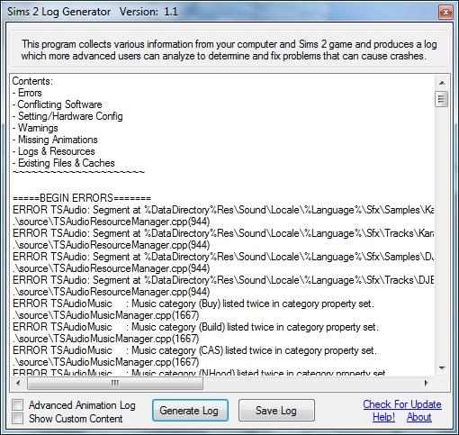 Error Log: Sims 2 Error Log Generator [Updated 6/3/2010]