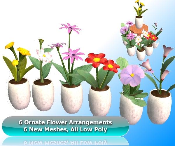mod the sims ornate flower arrangements 6 new meshes. Black Bedroom Furniture Sets. Home Design Ideas