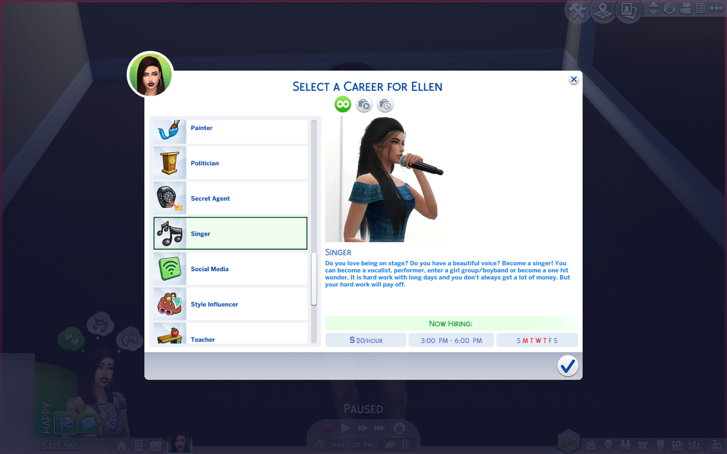 Mod The Sims - Singer Career