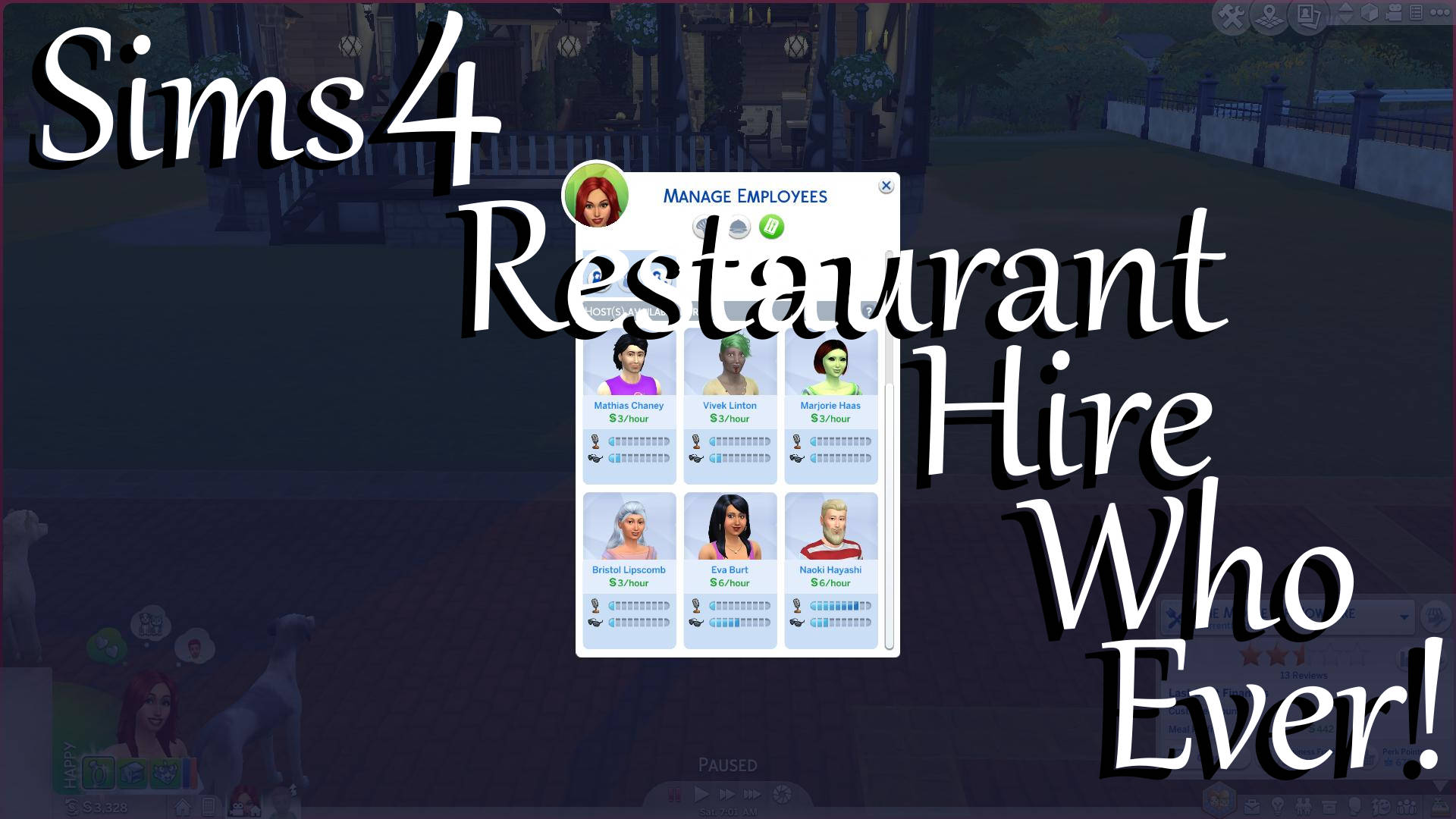Mod The Sims Restaurant Hire Who Ever