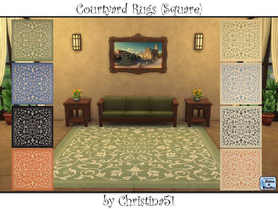 With Their Twining Vines, These Lovely Rugs Are Perfect For Any Indoor Or  Outdoor Space. Size 4 X 4 Square. Eight Color Variations In Two Files.