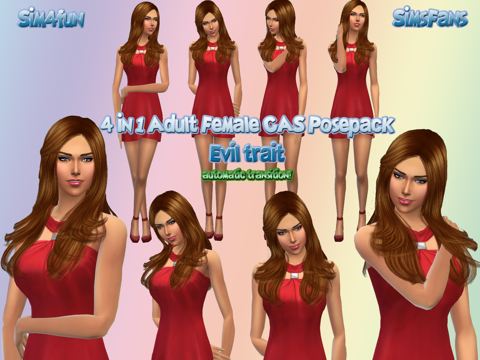 Mod The Sims - 4 in 1 Adult Female CAS Posepack - Evil Trait