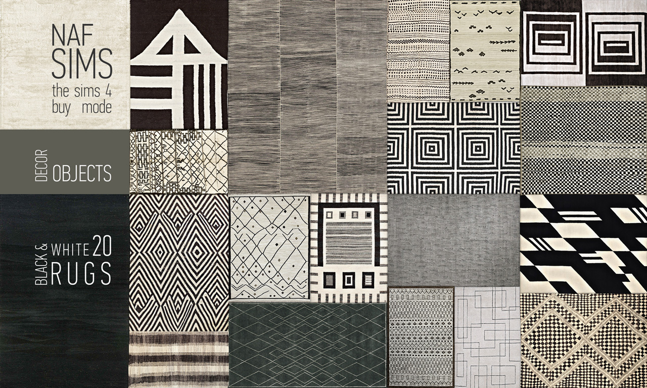 mod the sims - black & white rug collection
