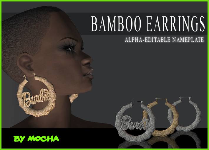 Mod The Sims - NEW MESH - Bamboo Earrings with Alpha