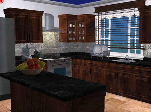 Mod The Sims Stainless Backsplash And Travertine Tile