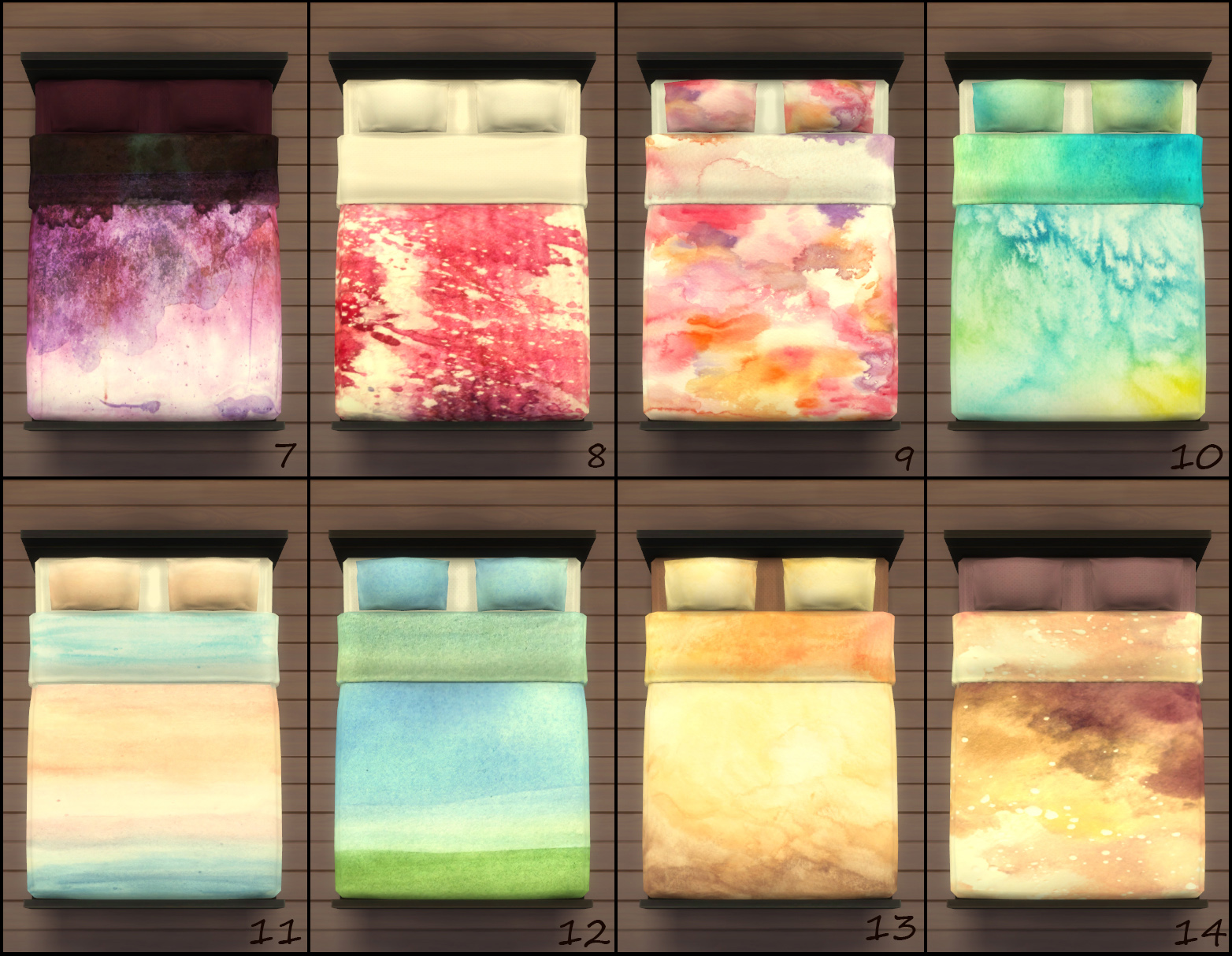 Toddler Bedroom Set Mod The Sims 25 Watercolor Beddings Now Framless