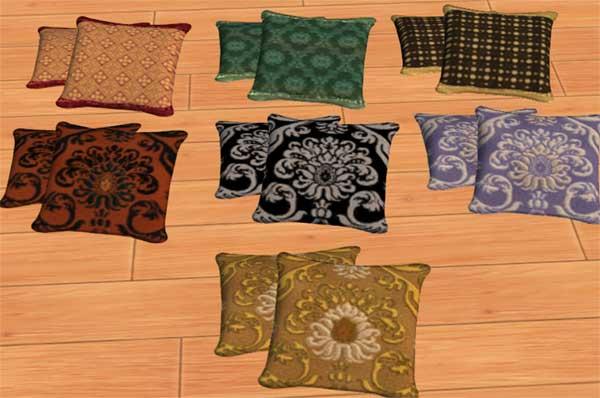 Throw Pillows Sims 4 : Mod The Sims - 4 sets of Mango sims pillows