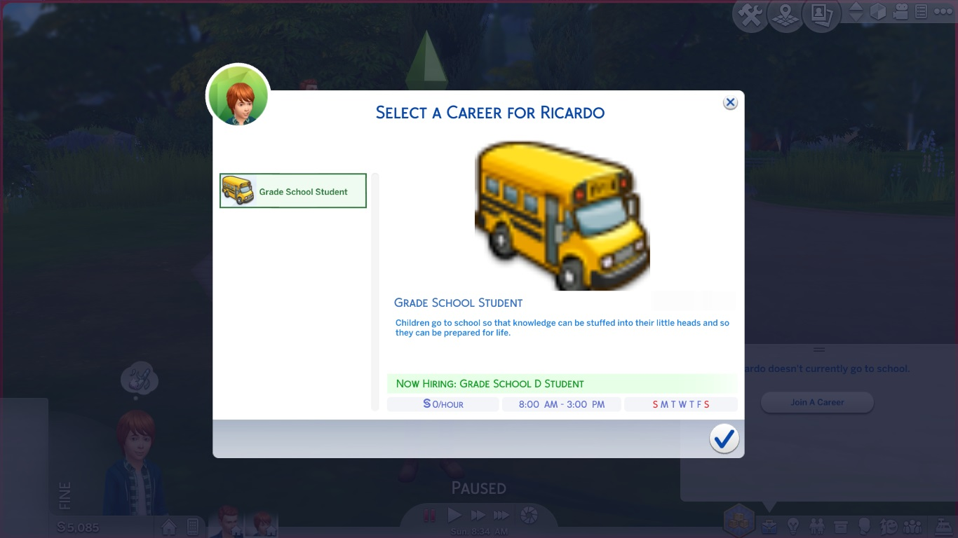 Mod The Sims - Child and Teen can Quit or Rejoin School