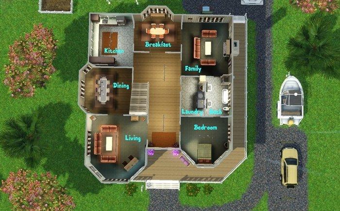 Mod the sims cormier island house 5br 3ba for Sims 4 floor plans
