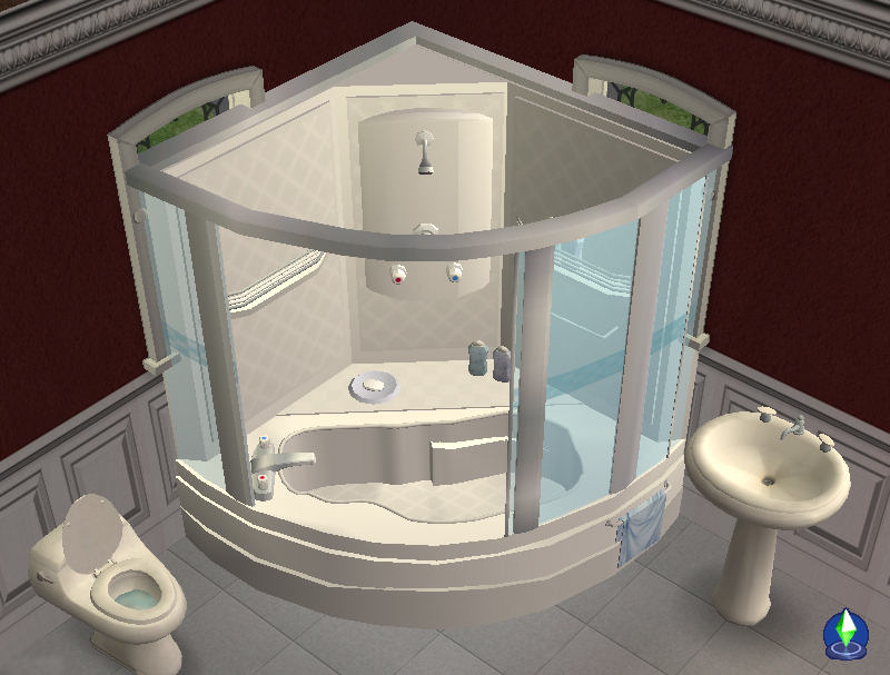 Mod The Sims - Corner Bath and Shower Unit - NOW FULLY working 2011