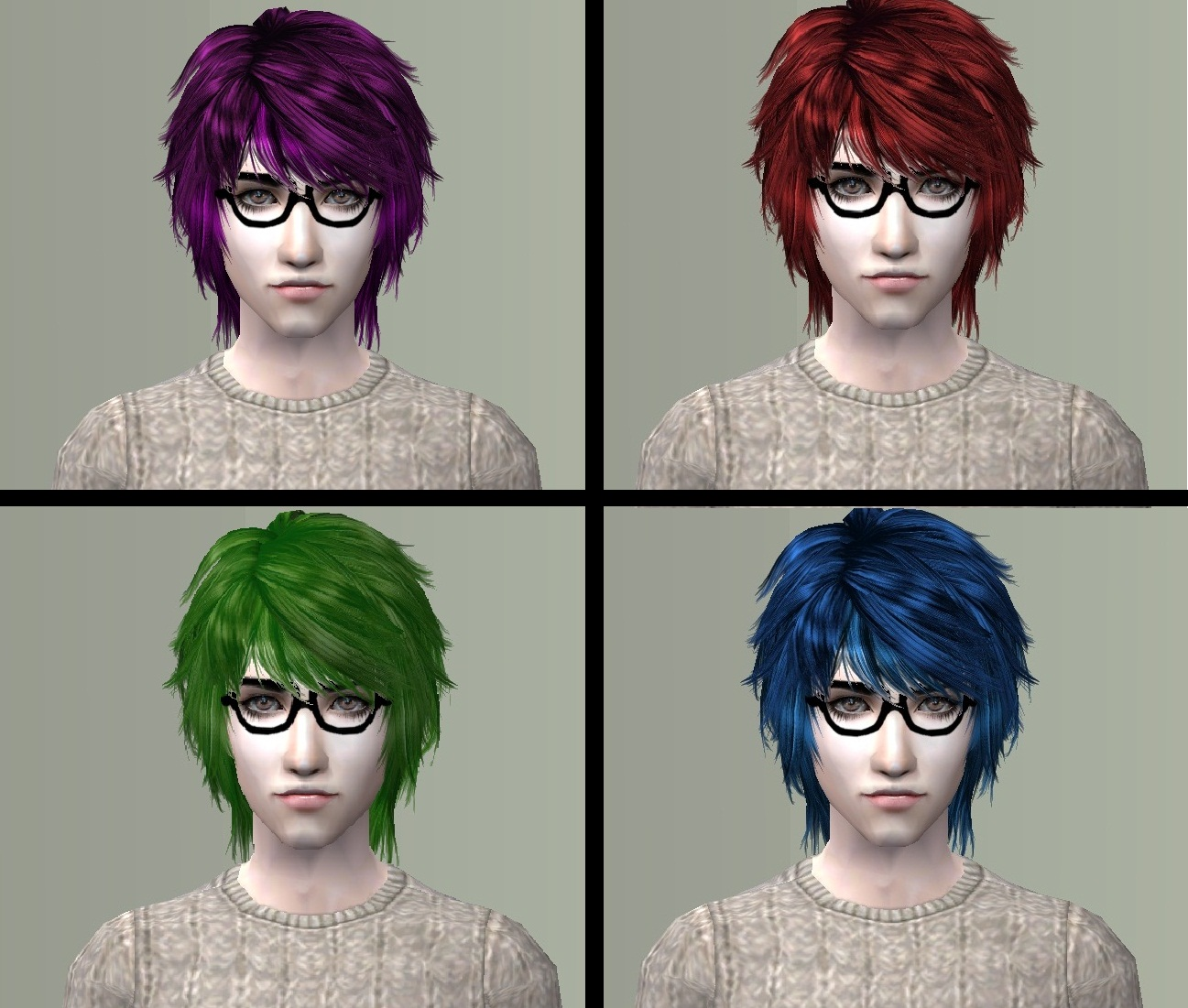 Sims 2 Hairstyles: New Recolors Of Sizz-Hanui Hair