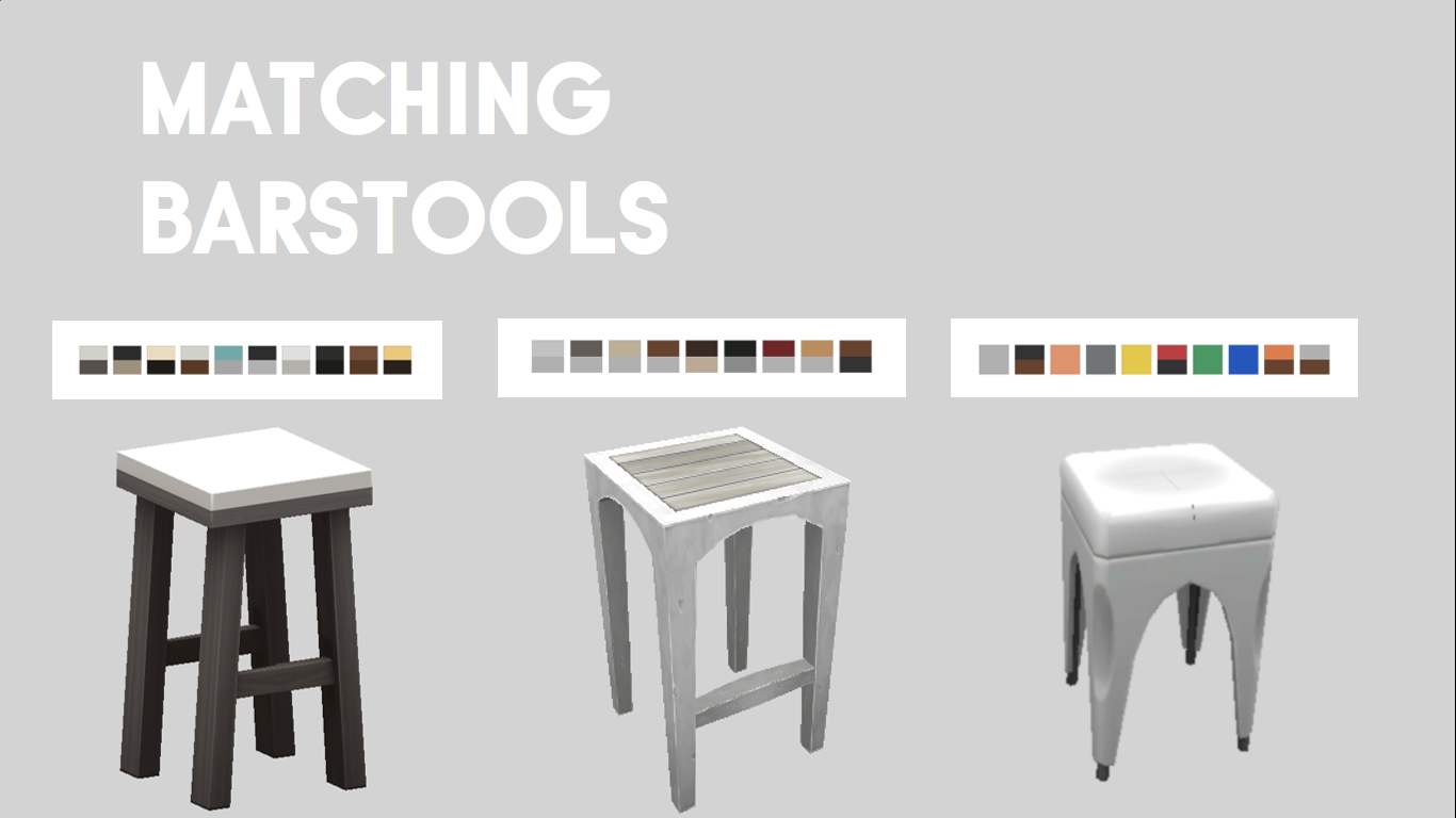 Mod The Sims - 3 Object Matching Barstools