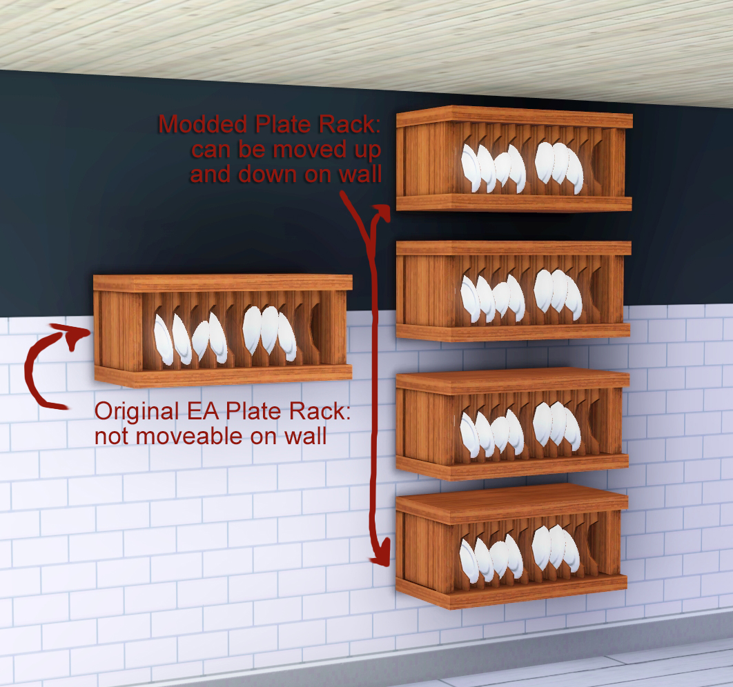 x & Mod The Sims - Overachieving Plate Rack with Slots and Wall Movement