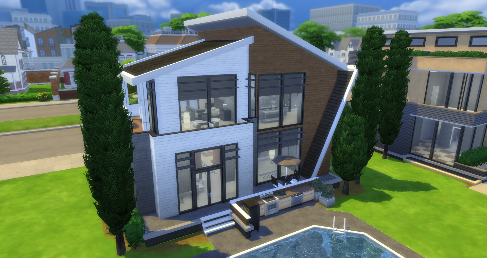 Mod the sims the modern basegame mansion nocc for Classic house sims 4