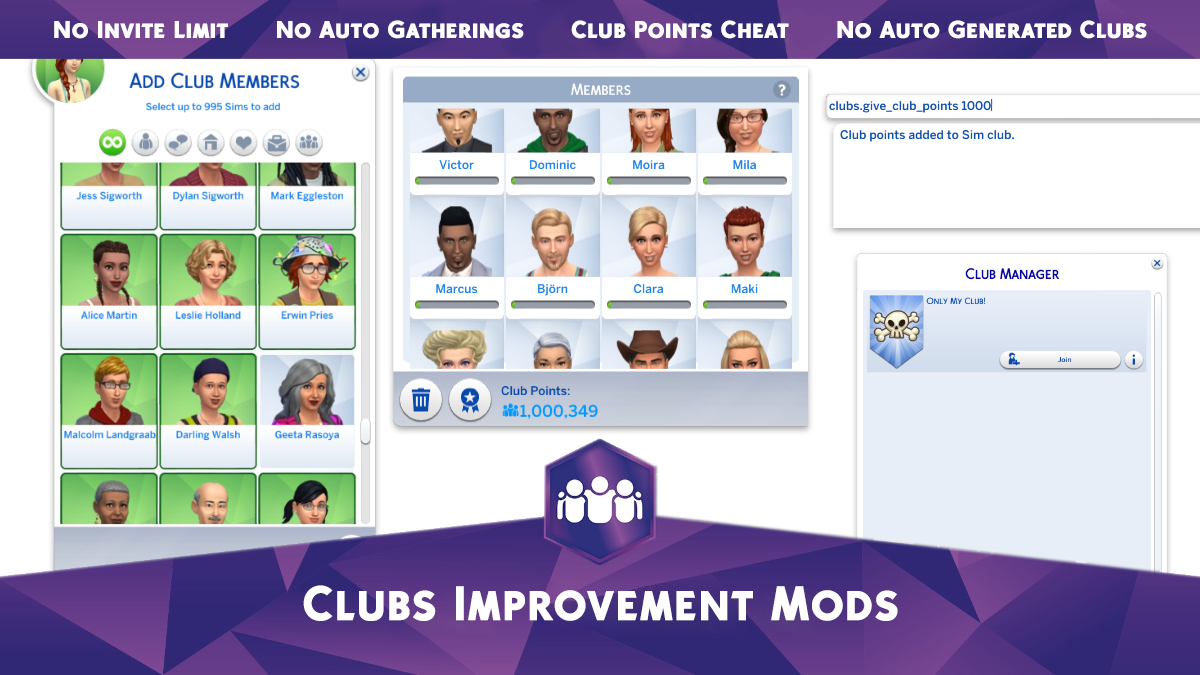Mod The Sims - Clubs Improvement Mods