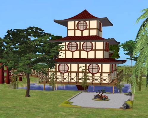 Mod the sims oriental pagoda house no cc bon voyage for Pagoda house plans
