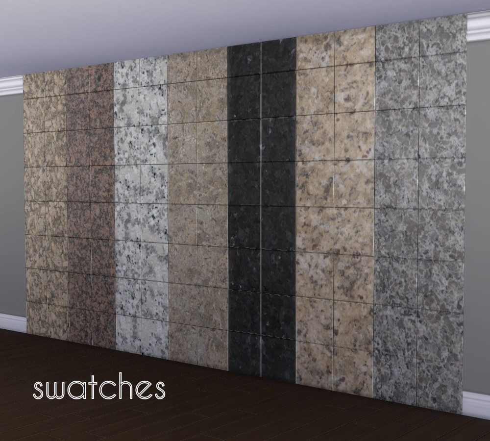 mod the sims glossy granite wall tiles. Black Bedroom Furniture Sets. Home Design Ideas
