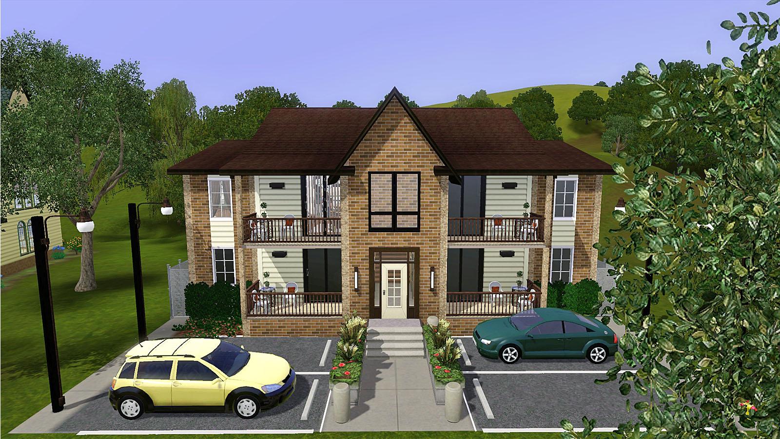 Mod the sims starter four plex apartment building for Building a fourplex