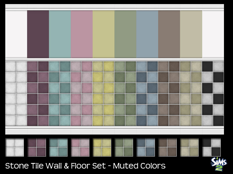 Mod The Sims - Stone Tile & Wall Set - Muted Colors