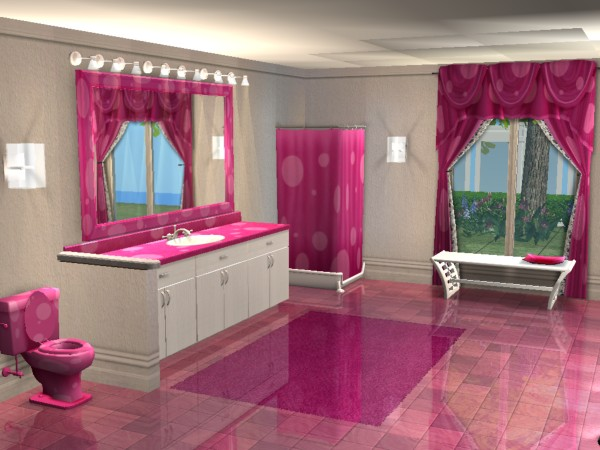 Mod The Sims Kimmie Collection Pink Polka Dot Bathroom