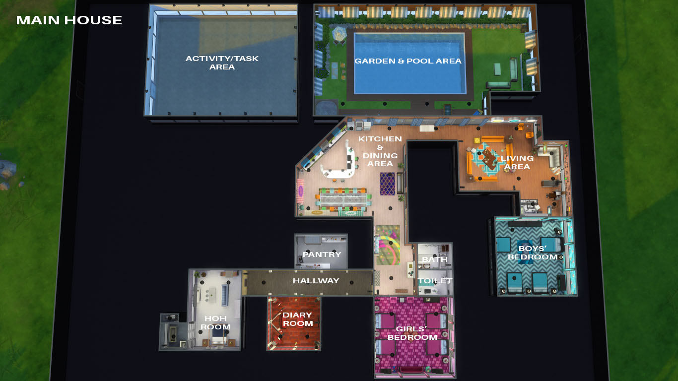 house floor plans no hallways.  Floor Source Mod The Sims Big Brother House No CC Plan Of Ideas
