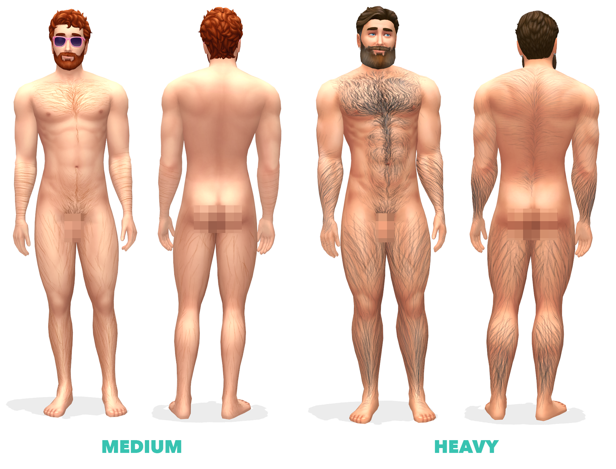 Mod The Sims Body Hair Smooth Light Medium And Heavy