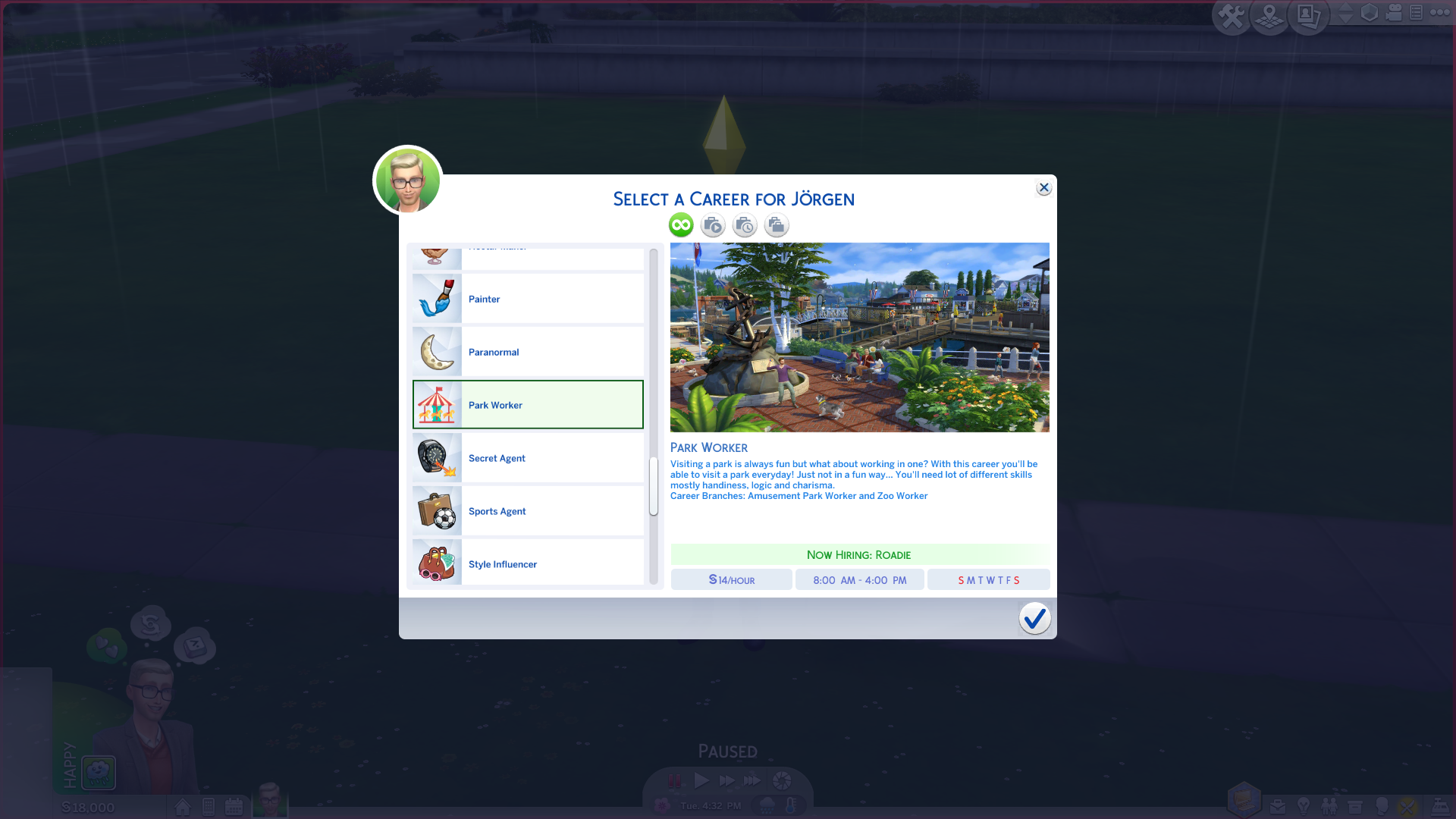 Park Worker Sims career