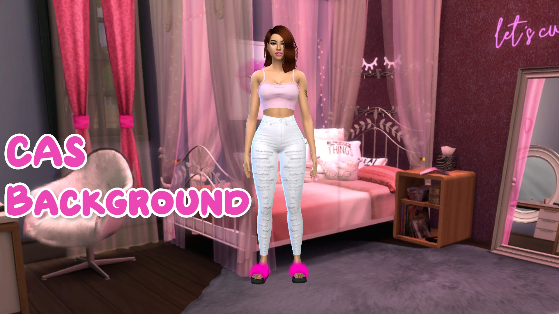 Mod The Sims Pink Bedroom Cas Background