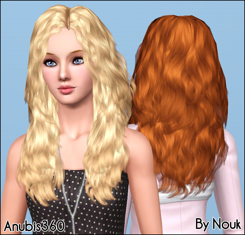 Mod The Sims Nouk S Long Wavy Hair Converted For Teen