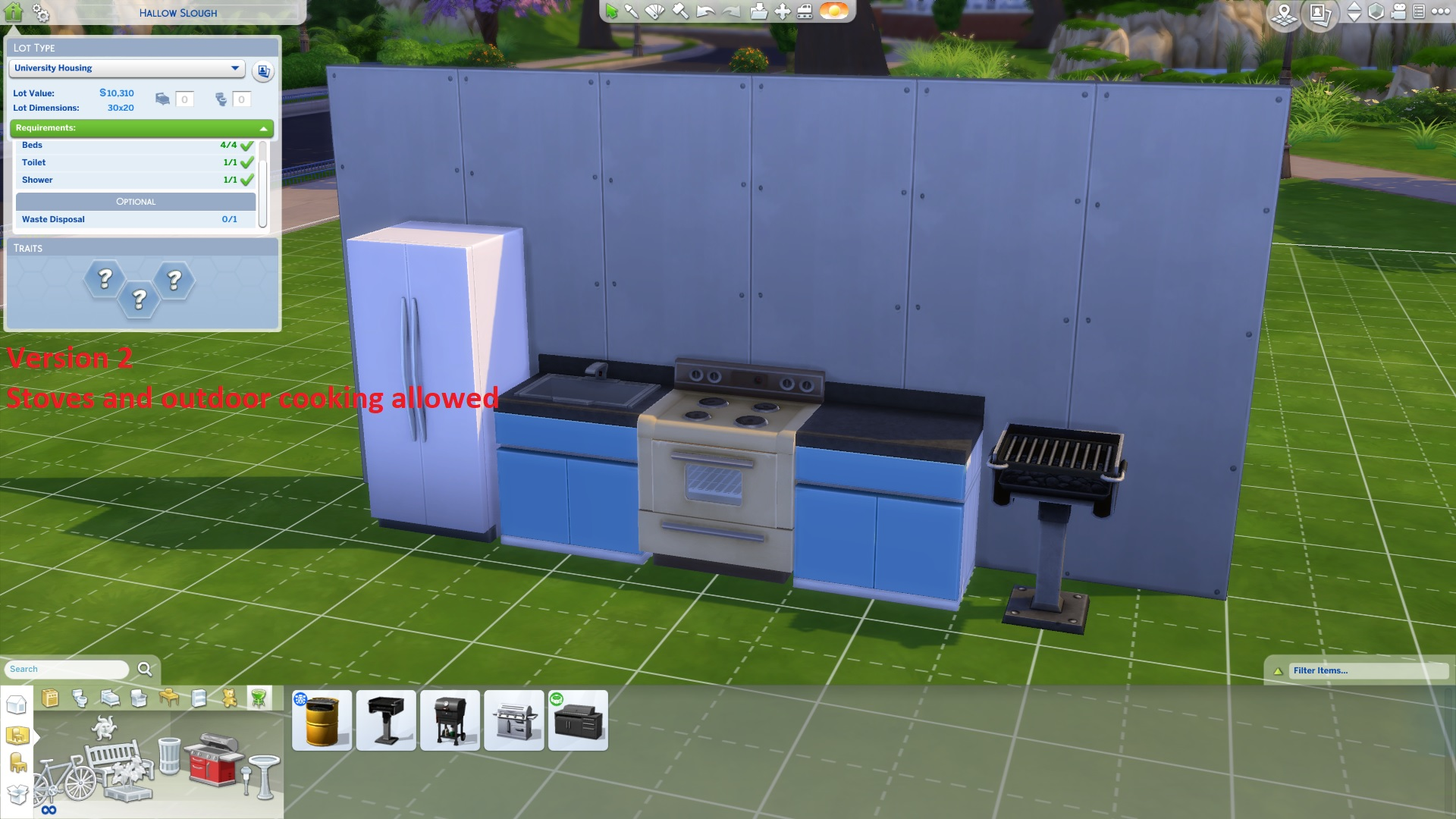Mod The Sims Stoves and outdoor cooking allowed in dorms