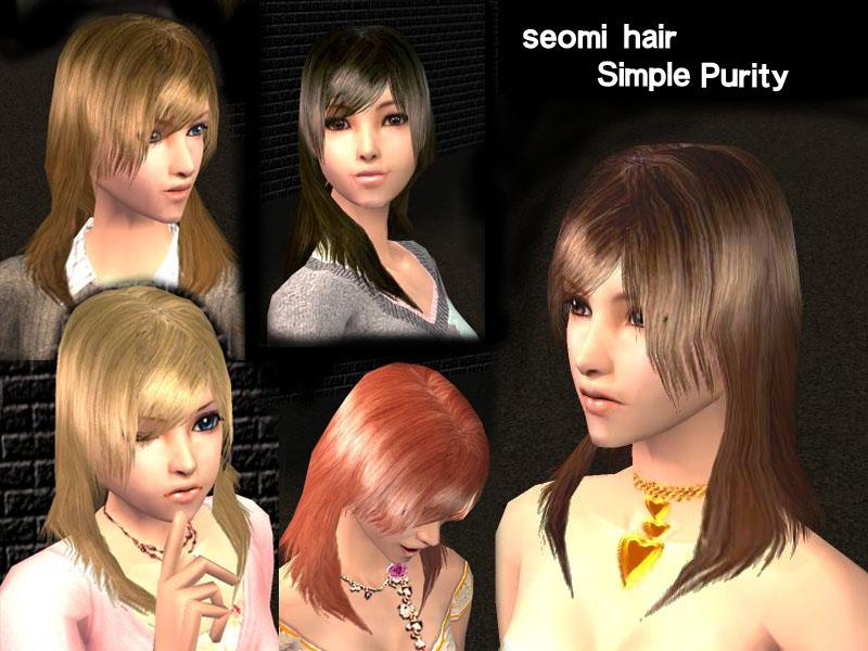 Mod The Sims Female Medium Length Hair Simple Purity New Mesh