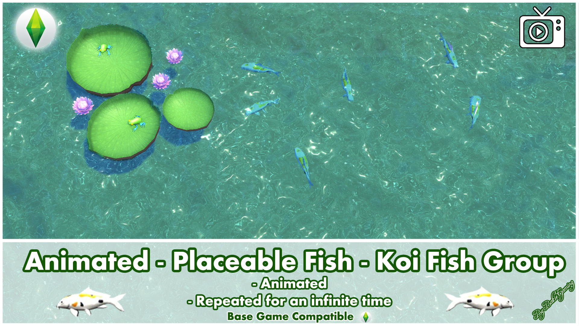 Bakies The Sims 4 Custom Content: Animated - Placeable Fish - Koi Fish Group