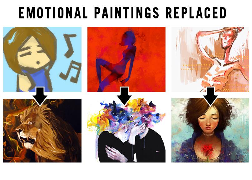 Замена картин влияющих на эмоции