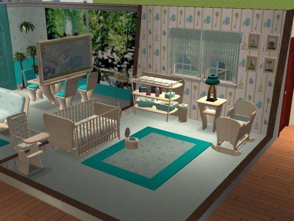Mod The Sims - Jungle Love Nursery (Sims2Luxe Calypso Baby Room Recolor)