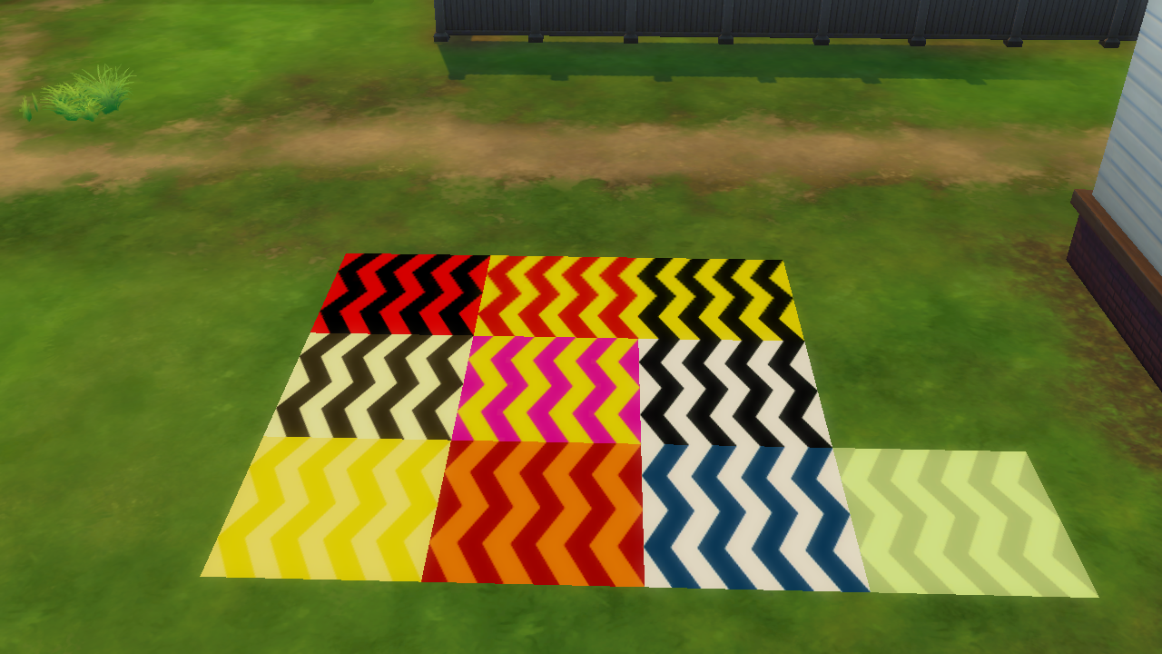 Pictures of zig zag floortile recolours from the Sims